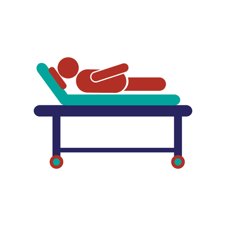 bedridden: Modern flat icon on white background, patient in hospital bed