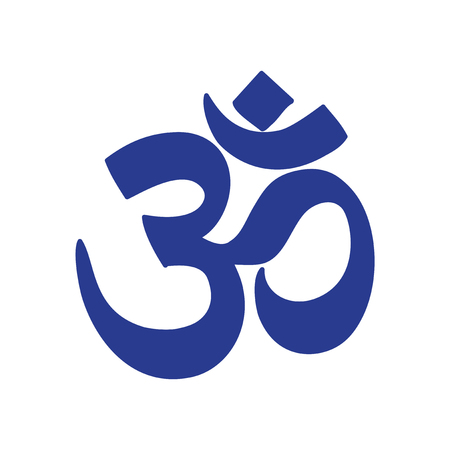 om symbol: Modern flat icon white background, Indian om sign