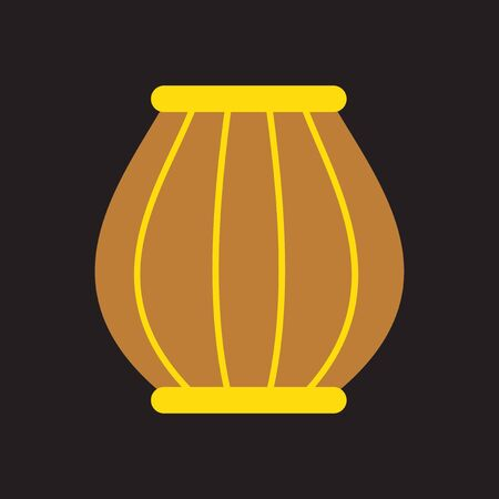 charmer: Modern flat icon with Black background, Indian basket