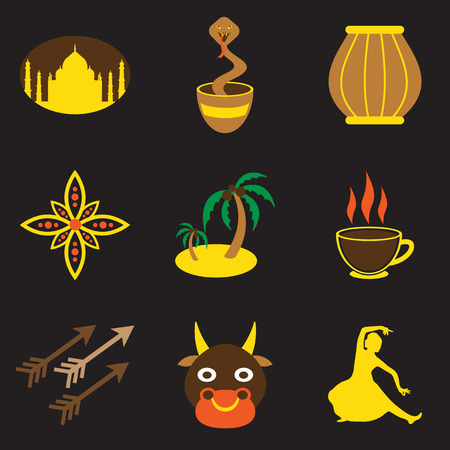 god's cow: Modern flat icons collection with Black background, Indian icons Illustration