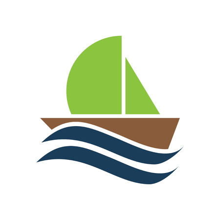 sailboat: flat icon on white background, sailboat