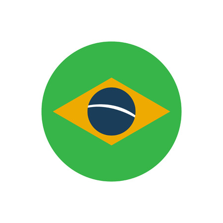 brazilian flag: flat icon on white background, Brazilian flag Illustration