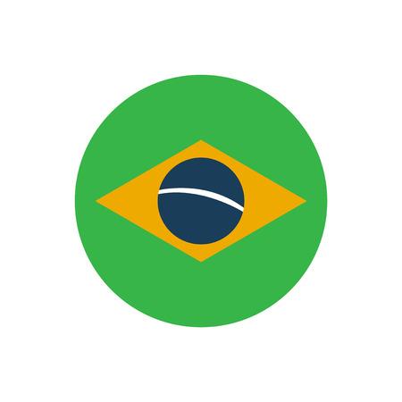 brazilian: flat icon on white background, Brazilian flag Illustration