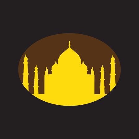 mahal: Modern flat icon with Black background, Indian Taj Mahal Illustration