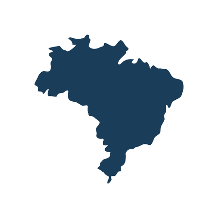 clime: flat icon on white background, map of Brazil