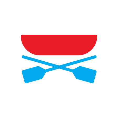 flat icon on white background, boat oars