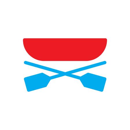 platte pictogram op witte achtergrond, boot roeispanen