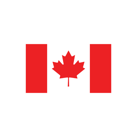 canadian state flag: flat icon on white background, flag of Canada Illustration