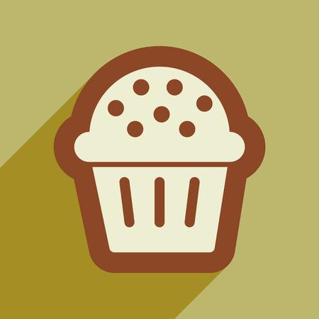 celebratory: flat icon with long shadow, celebratory cake Illustration