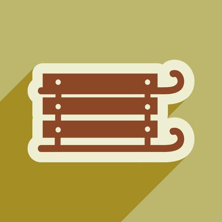 toboggan: flat icon with long shadow, children sledges Illustration