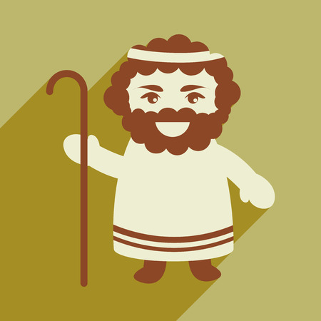new testament: flat icon with long shadow, Father of Jesus Christ Illustration