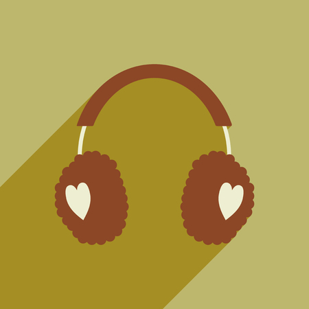 muff: flat icon with long shadow, earmuffs hearts