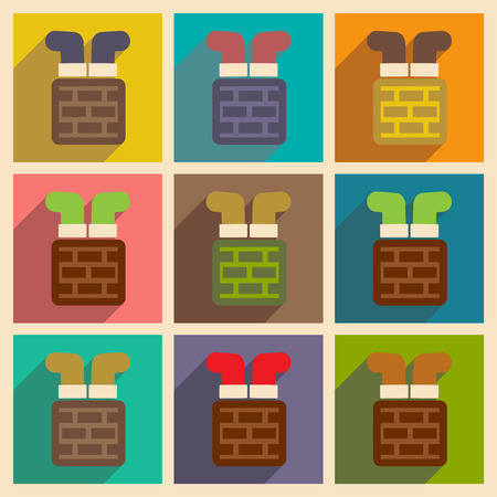 chimney: Set of flat icons with long shadow, Santa in chimney Illustration
