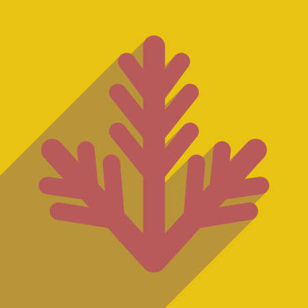 furtree: flat icon with long shadow, fur-tree branch
