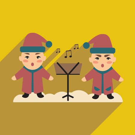 carols: flat icon with long shadow, children sing carols