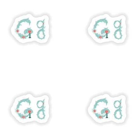 stiker: stiker Abstract letter G logo icon  in Blue tropical style Illustration