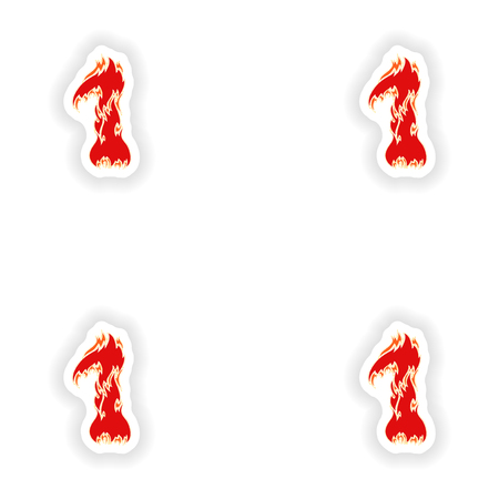 eight year old: assembly stickers fiery font red number 1 on white background
