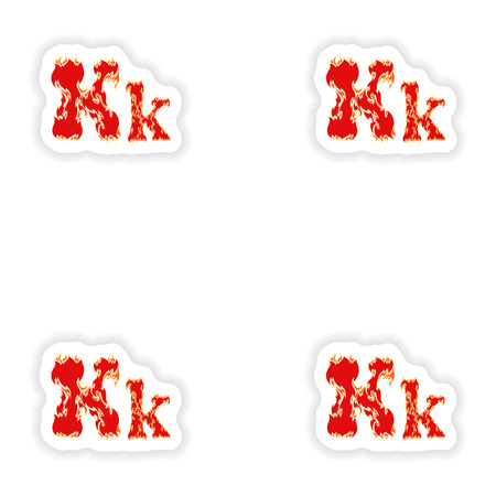 fiery font: assembly stickers fiery font red letter K on white background