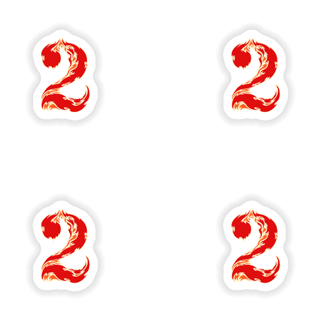fiery font: assembly stickers fiery font red number 2 on white background Illustration