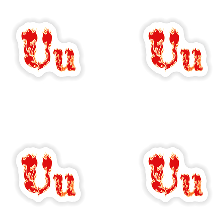 fiery font: assembly stickers fiery font red letter U on white background