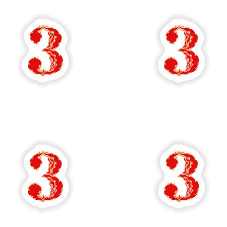 eight year old: assembly stickers fiery font red number 3 on white background