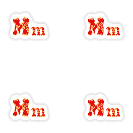 fiery font: assembly stickers fiery font red letter M on white background