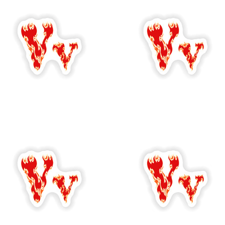 fiery: assembly stickers fiery font red letter V on white background Illustration