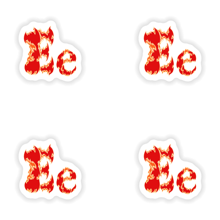 fiery: assembly stickers fiery font red letter E on white background