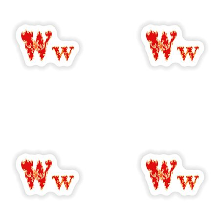 fiery font: assembly stickers fiery font red letter W on white background Illustration