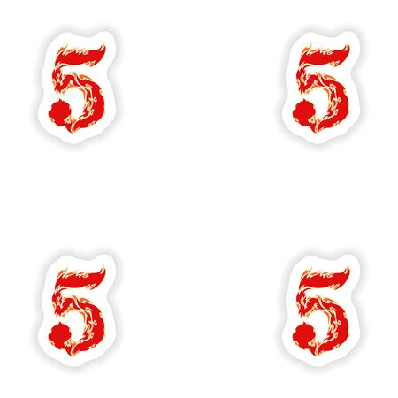 eight year old: assembly stickers fiery font red number 5 on white background