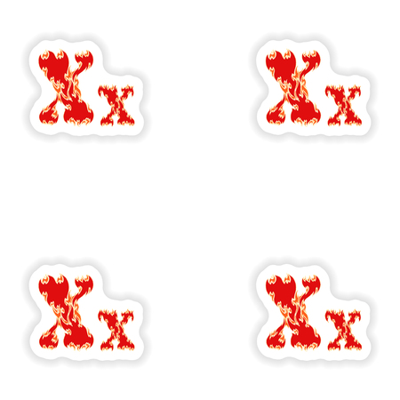 fiery font: assembly stickers fiery font red letter X on white background