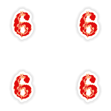 eight year old: assembly stickers fiery font red number 6 on white background Illustration