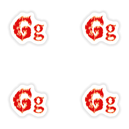 fiery font: assembly stickers fiery font red letter G on white background