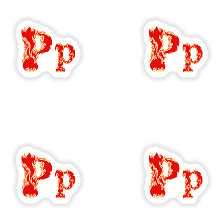 fiery font: assembly stickers fiery font red letter P on white background