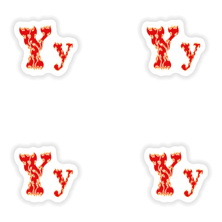 fiery font: assembly stickers fiery font red letter Y on white background