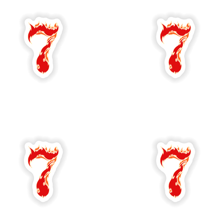 eight year old: assembly stickers fiery font red number 7 on white background