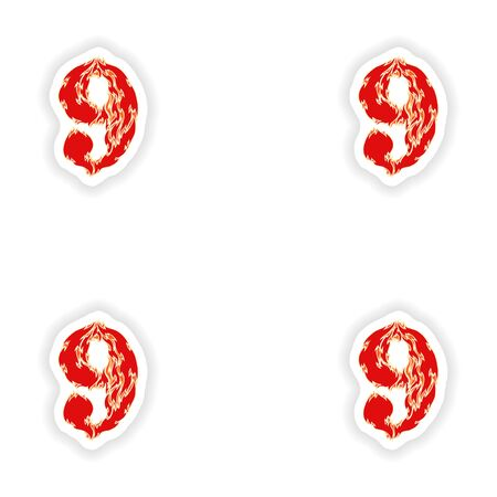 eight year old: assembly stickers fiery font red number 9 on white background