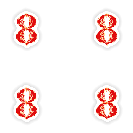 eight year old: assembly stickers fiery font red number 8 on white background
