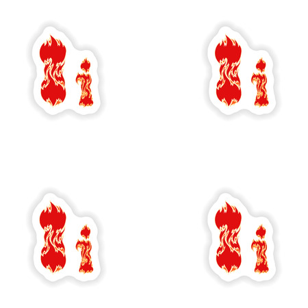 fiery: assembly stickers fiery font red letter I on white background Illustration