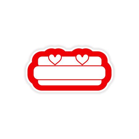 honeymoon: paper sticker on white background, bed Honeymoon Illustration