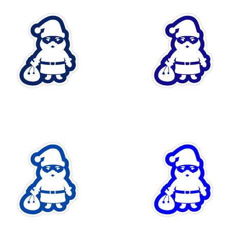 greybeard: Set of paper stickers on white background, Santa Claus Illustration