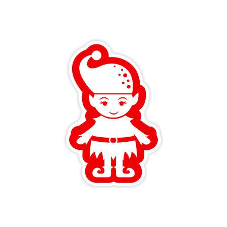 dwarf costume: paper sticker on white background, Santas elves