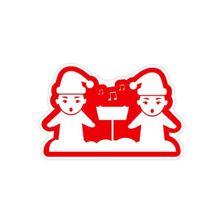carols: paper sticker on white background, children sing carols