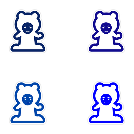 palle di neve: Set of paper stickers on white background, child playing snowballs Vettoriali