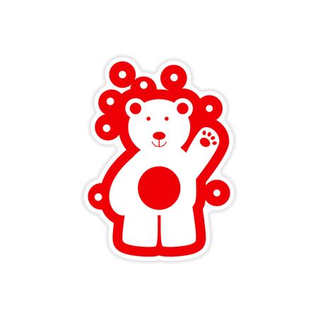 tundra: paper sticker on white background, northern bear Illustration