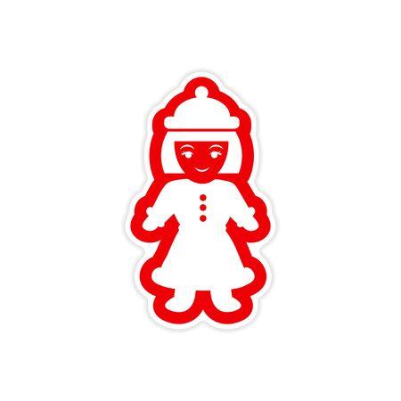 sociable: paper sticker on white background, Girl dressed as Santa