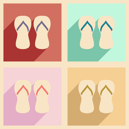 beach slippers: Flat with shadow concept and mobile application, beach slippers