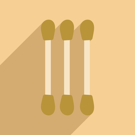 swabs: Flat with shadow icon and mobile application, cotton swabs Illustration