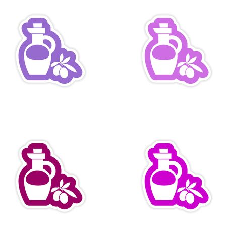 cruet: Set of paper stickers on white background, olive oil