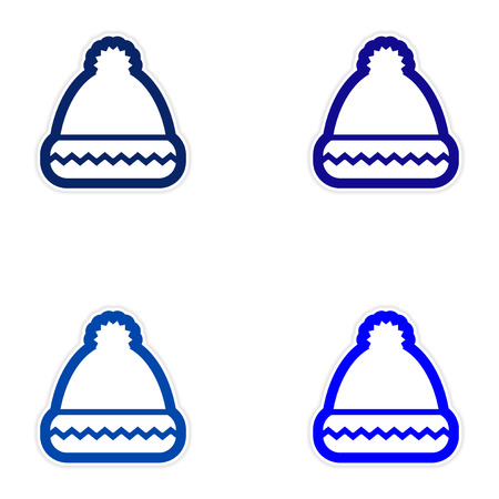 paper hats: Set of paper stickers on white background, Santa hats